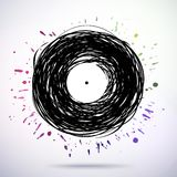 Retro styled melody disc with colored splashes Royalty Free Stock Photography