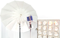Retro styled microphone Royalty Free Stock Image