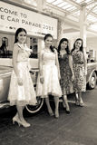 Retro styled models on Vintage Car Parade Stock Photo