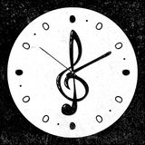 Retro, musical treble clef clock concept, vector royalty free illustration