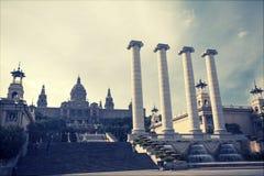Retro styled photo of The Museu Nacional d'Art de Catalunya, Bar Stock Images