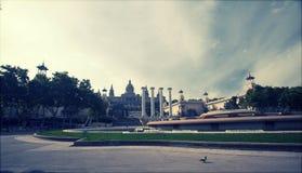Retro styled photo of Placa De Espanya, Barcelona, Spain Royalty Free Stock Image