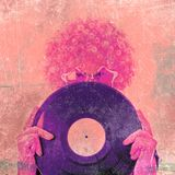 Trendy girl with vinyl disk Stock Photography