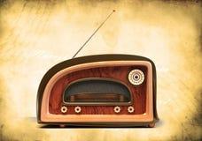 Retro Styled Radio On Grunge Background Stock Photos