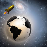 Retro styled rocket and earth. In space Stock Photo