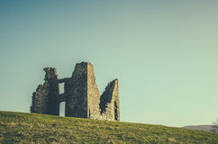 Retro Styled Ruined Castle Stock Photo