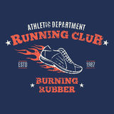 Retro Styled Running Club Label or Emblem Template. Retro styled running club label templates, running shoes, running icon Royalty Free Stock Photography