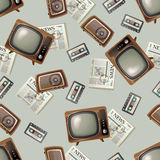 Retro-styled seamless background. With tv, radio, audiocassetes and newspapers Stock Photo