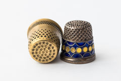 Retro styled sewing thimbles, close-up Stock Image