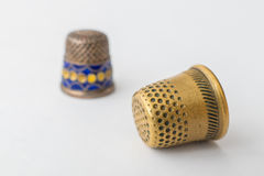 Retro styled sewing thimbles, close-up Royalty Free Stock Photography