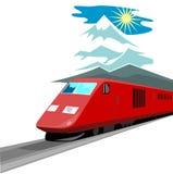 Retro styled speeding train Royalty Free Stock Images