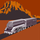 Retro styled speeding train Royalty Free Stock Photo