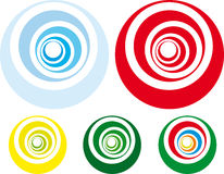 Retro styled spiral. Circles in shades of green blue and red vector illustration
