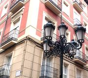 Retro styled Street Lights. On a Spanish city street stock photography