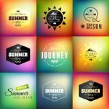 Retro styled summer calligraphic design card set Stock Photography