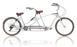 Retro styled tandem bicycle isolated on a white Royalty Free Stock Photography