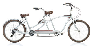 Retro styled tandem bicycle isolated on a white Stock Image