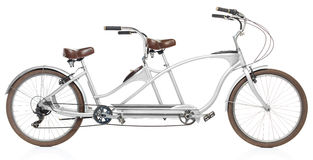 Retro styled tandem bicycle isolated on a white Royalty Free Stock Photo