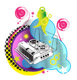 Retro styled tape recorder. Vector illustration Stock Photo