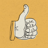 Retro styled thumb up symbol Royalty Free Stock Image