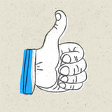 Retro styled thumb up symbol. Royalty Free Stock Photos