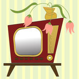 Retro-styled tv. Vector illustration of retro style TV set on a background of striped wallpaper Stock Photo