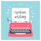 Retro Styled Typewriter with Sheet of Paper and Creative Writing Sign. Vector Design.  stock illustration