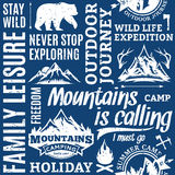 Retro styled typographic vector mountain and outdoor adventures Royalty Free Stock Photo