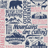 Retro styled typographic vector mountain and outdoor adventures Royalty Free Stock Photography