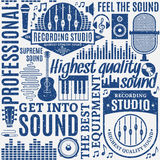 Retro styled typographic vector recording studio and music label Royalty Free Stock Image