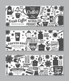 Retro styled vector coffee banners. Mugs, beans and coffee equipment icons for coffeehouse, espresso bar, restaurant, cafe, packaging, branding and identity Royalty Free Stock Photos