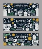 Retro styled vector coffee banners. Mugs, beans and coffee equipment icons for coffeehouse, espresso bar, restaurant, cafe, packaging, branding and identity Stock Photography