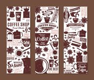 Retro styled vector coffee banners. Mugs, beans and coffee equipment icons for coffeehouse, espresso bar, restaurant, cafe, packaging, branding and identity Stock Image