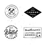Retro styled vintage badges for branding projects. Leather workshops, apparel labels, denim labels, t-shirt prints and more Royalty Free Stock Photo