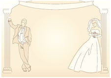 Retro-styled wedding background Royalty Free Stock Image