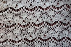 Retro styled white lacy fabric Stock Images