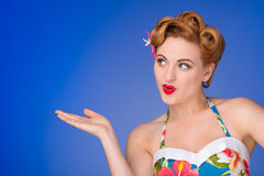Retro  styled woman with fifties hair and makeup Royalty Free Stock Photography