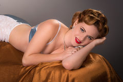 Retro  styled woman with fifties hair and makeup Stock Image