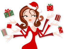 Retro Styled Woman Juggling Christmas Gifts Stock Photo