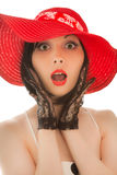 Retro-styled woman in red hat Royalty Free Stock Images
