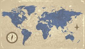 Retro-styled world map with compass. And wind-rose. Vector illustration Royalty Free Stock Photos