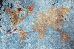 Retro-styled world map, vintage background Royalty Free Stock Image