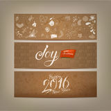 Retro styled Xmas banners with cute drawings Stock Photo