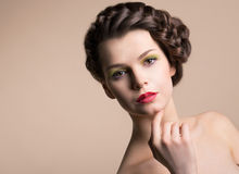 Retro Styling Woman with Brown Hair Royalty Free Stock Photo