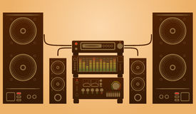 Retro stylish audio system. With speakers and equalizer Stock Photo