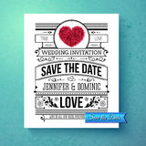 Retro stylish Save The Date wedding template. With black and white text with calligraphic ornaments and a red symbolic heart over a graduated blue background Stock Image