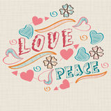 Retro stylish text with flowers and hearts. Stock Photos