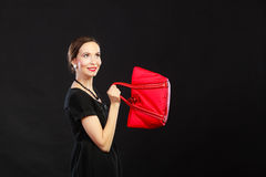 Retro stylish woman with red handbag Stock Images