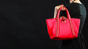 Retro stylish woman with red handbag Royalty Free Stock Image