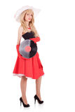 Retro stylish young woman with pramophone record. Retro stylish young woman in hat with pramophone record on white background Royalty Free Stock Image